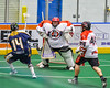 Onondaga Redhawks goalie Edmund Cathers (1) makes a save against the Allegany Arrows in Can-Am Box Lacrosse action at the Onondaga Nation Arena near Nedrow, New York on Saturday, May 14, 2016.  Onondaga won 17-5.