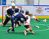 Onondaga Redhawks Cameron Simpson (5) attempting to score against the Allegany Arrows in Can-Am Box Lacrosse action at the Onondaga Nation Arena near Nedrow, New York on Saturday, May 14, 2016.  Onondaga won 17-5.