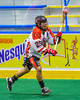 Onondaga Redhawks Junior Bucktooth (25) with the ball against the Allegany Arrows in Can-Am Box Lacrosse action at the Onondaga Nation Arena near Nedrow, New York on Saturday, May 14, 2016.  Onondaga won 17-5.
