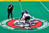 Onondaga Redhawks Dan Rogers (17) takes the opening face-off against the Allegany Arrows in Can-Am Box Lacrosse action at the Onondaga Nation Arena near Nedrow, New York on Saturday, May 14, 2016.  Onondaga won 17-5.