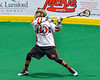 Onondaga Redhawks Hiana Thompson (22) winds up for a shot at the Newtown Golden Eagles net in Can-Am Box Lacrosse action at the Onondaga Nation Arena near Nedrow, New York on Saturday, July 9, 2016.  Onondaga won 14-6.