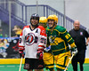 Onondaga Redhawks Junior Bucktooth (25) playing against the Newtown Golden Eagles in Can-Am Box Lacrosse action at the Onondaga Nation Arena near Nedrow, New York on Saturday, July 9, 2016.  Onondaga won 14-6.