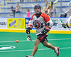 Onondaga Redhawks Wade Bucktooth (19) passing the ball against the Newtown Golden Eagles in Can-Am Box Lacrosse action at the Onondaga Nation Arena near Nedrow, New York on Saturday, July 9, 2016.  Onondaga won 14-6.