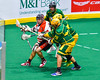 Onondaga Redhawks Troy Benedict (23) killing off a penalty against the Newtown Golden Eagles in Can-Am Box Lacrosse action at the Onondaga Nation Arena near Nedrow, New York on Saturday, July 9, 2016.  Onondaga won 14-6.