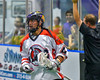 Onondaga Redhawks Lyle Thompson (4) after scoring against the Newtown Golden Eagles in Can-Am Box Lacrosse action at the Onondaga Nation Arena near Nedrow, New York on Saturday, July 9, 2016.  Onondaga won 14-6.
