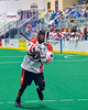 Onondaga Redhawks Lyle Thompson (4) lets a shot go against the Newtown Golden Eagles in Can-Am Box Lacrosse action at the Onondaga Nation Arena near Nedrow, New York on Saturday, July 9, 2016.  Onondaga won 14-6.