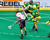 Onondaga Redhawks Lyle Thompson (4) scores a goal against the Newtown Golden Eagles in Can-Am Box Lacrosse action at the Onondaga Nation Arena near Nedrow, New York on Saturday, July 9, 2016.  Onondaga won 14-6.