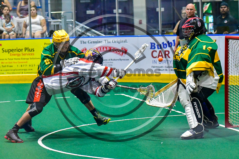 Onondaga Redhawks Lyle Thompson (4) shoots and scores against the Newtown Golden Eagles in Can-Am Box Lacrosse action at the Onondaga Nation Arena near Nedrow, New York on Saturday, July 9, 2016.  Onondaga won 14-6.