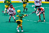 Onondaga Redhawks Bill O'Brien (96) blocks a shot by a Newtown Golden Eagles player in Can-Am Box Lacrosse action at the Onondaga Nation Arena near Nedrow, New York on Saturday, July 9, 2016.  Onondaga won 14-6.