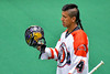 Onondaga Redhawks Lyle Thompson (4) before playing the Newtown Golden Eagles in Can-Am Box Lacrosse action at the Onondaga Nation Arena near Nedrow, New York on Saturday, July 9, 2016.
