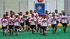 Onondaga Redhawks break their huddle before the start of the second period against the Newtown Golden Eagles in Can-Am Box Lacrosse action at the Onondaga Nation Arena near Nedrow, New York on Saturday, July 9, 2016.  Onondaga won 14-6.