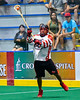 Onondaga Redhawks Pierce Abrams (24) passing the ball against the Newtown Golden Eagles in Can-Am Box Lacrosse action at the Onondaga Nation Arena near Nedrow, New York on Saturday, July 9, 2016.  Onondaga won 14-6.