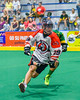 Onondaga Redhawks Wade Bucktooth (19) with the ball against the Newtown Golden Eagles in Can-Am Box Lacrosse action at the Onondaga Nation Arena near Nedrow, New York on Saturday, July 9, 2016.  Onondaga won 14-6.