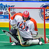 Onondaga Redhawks goalie Edmund Cathers (1) makes a save against the Newtown Golden Eagles in Can-Am Box Lacrosse action at the Onondaga Nation Arena near Nedrow, New York on Saturday, July 29, 2016.  Newtown won 10-7.
