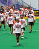 Onondaga Redhawks before playing the Newtown Golden Eagles in Can-Am Box Lacrosse action at the Onondaga Nation Arena near Nedrow, New York on Saturday, July 29, 2016.  Newtown won 10-7.