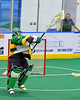 Newtown Golden Eagles goalie Clint Jones (2) passing the ball against the Onondaga Redhawks in Can-Am Box Lacrosse action at the Onondaga Nation Arena near Nedrow, New York on Saturday, July 29, 2016.  Newtown won 10-7.