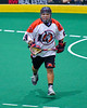 Onondaga Redhawks Kevin Wilkerson (9) playing against the Newtown Golden Eagles in Can-Am Box Lacrosse action at the Onondaga Nation Arena near Nedrow, New York on Saturday, July 29, 2016.  Newtown won 10-7.