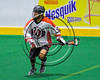 Onondaga Redhawks Adam Yee (11) with the ball against the Rochester River Monsters in Can-Am Box Lacrosse action at the Onondaga Nation Arena near Nedrow, New York on Sunday, April 23, 2017.  Onondaga won 13-5.