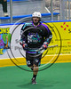 Rochester River Monsters Cameron Gebhardt (42) after scoring a goal against the Onondaga Redhawks in Can-Am Box Lacrosse action at the Onondaga Nation Arena near Nedrow, New York on Sunday, April 23, 2017.  Onondaga won 13-5.