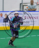 Rochester River Monsters Cameron Gebhardt (42) passing the ball against the Onondaga Redhawks in Can-Am Box Lacrosse action at the Onondaga Nation Arena near Nedrow, New York on Sunday, April 23, 2017.  Onondaga won 13-5.