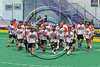 Onondaga Redhawks break the huddle before playing the Rochester River Monsters in a Can-Am Box Lacrosse game at the Onondaga Nation Arena near Nedrow, New York on Sunday, April 23, 2017.