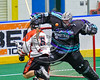 Rochester River Monsters goalie Brandon Miller (39) makes a save against Onondaga Redhawks Camron Simpson (5) in Can-Am Box Lacrosse action at the Onondaga Nation Arena near Nedrow, New York on Sunday, April 23, 2017.  Onondaga won 13-5.