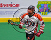 Onondaga Redhawks Luke Thompson (14) cradling the ball against the Rochester River Monsters in Can-Am Box Lacrosse action at the Onondaga Nation Arena near Nedrow, New York on Sunday, April 23, 2017.  Onondaga won 13-5.