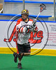 Onondaga Redhawks Gethnow Deintup (6) looking to make a play against the Rochester River Monsters in Can-Am Box Lacrosse action at the Onondaga Nation Arena near Nedrow, New York on Sunday, April 23, 2017.  Onondaga won 13-5.