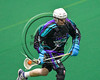 Rochester River Monsters Kevin Widzinski (0) running with the ball against the Onondaga Redhawks in Can-Am Box Lacrosse action at the Onondaga Nation Arena near Nedrow, New York on Sunday, April 23, 2017.  Onondaga won 13-5.