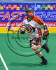 Onondaga Redhawks Dan Rogers (17) with the ball against the Rochester River Monsters in Can-Am Box Lacrosse action at the Onondaga Nation Arena near Nedrow, New York on Sunday, April 23, 2017.  Onondaga won 13-5.