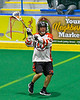 Onondaga Redhawks Vince Thomas (17) looking to make a pass against the Newtown Golden Eagles in Can-Am Box Lacrosse action at the Onondaga Nation Arena near Nedrow, New York on Sunday, April 28, 2019.  Onondaga won 8-6.