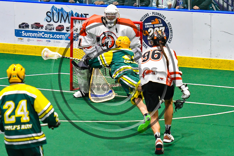 Newtown Golden Eagles Lyndon Stevens (89) reaches out over the crease of Onondaga Redhawks goalie Dave Mathers (1) in Can-Am Box Lacrosse action at the Onondaga Nation Arena near Nedrow, New York on Sunday, April 28, 2019.  Onondaga won 8-6.