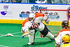 Onondaga Redhawks goalie Dave Mathers (1) controls the rebound against the Newtown Golden Eagles in Can-Am Box Lacrosse action at the Onondaga Nation Arena near Nedrow, New York on Sunday, April 28, 2019.  Onondaga won 8-6.