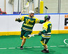 Newtown Golden Eagles Marve Curry (88) celebrates his goal against the Onondaga Redhawks in Can-Am Box Lacrosse action at the Onondaga Nation Arena near Nedrow, New York on Sunday, April 28, 2019.  Onondaga won 8-6.