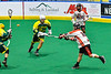 Onondaga Redhawks Cree Cathers (15) fires the ball at the Newtown Golden Eagles net in Can-Am Box Lacrosse action at the Onondaga Nation Arena near Nedrow, New York on Sunday, April 28, 2019.  Onondaga won 8-6.