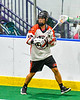 Onondaga Redhawks Wade Bucktooth (19) looking to make a play against the Newtown Golden Eagles in Can-Am Box Lacrosse action at the Onondaga Nation Arena near Nedrow, New York on Sunday, April 28, 2019.  Onondaga won 8-6.