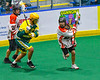 Onondaga Redhawks host the Newtown Golden Eagles in Can-Am Box Lacrosse action at the Onondaga Nation Arena near Nedrow, New York on Sunday, April 28, 2019.  Onondaga won 8-6.