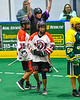 Onondaga Redhawks Lee Nanticoke (76) after scoring a goal against the Newtown Golden Eagles in Can-Am Box Lacrosse action at the Onondaga Nation Arena near Nedrow, New York on Sunday, April 28, 2019.  Onondaga won 8-6.