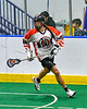 Onondaga Redhawks Bill O'Brien (96) with the ball against the Newtown Golden Eagles in Can-Am Box Lacrosse action at the Onondaga Nation Arena near Nedrow, New York on Sunday, April 28, 2019.  Onondaga won 8-6.