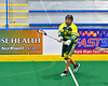 Newtown Golden Eagles Ash Washburn (33) passing the ball against the Onondaga Redhawks in Can-Am Box Lacrosse action at the Onondaga Nation Arena near Nedrow, New York on Sunday, April 28, 2019.  Onondaga won 8-6.
