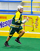 Newtown Golden Eagles Keith Rice (10) running with the ball against the Onondaga Redhawks in Can-Am Box Lacrosse action at the Onondaga Nation Arena near Nedrow, New York on Sunday, April 28, 2019.  Onondaga won 8-6.