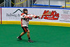 Onondaga Redhawks Hajenhne Brown (22) passes the ball against the Newtown Golden Eagles in Can-Am Box Lacrosse action at the Onondaga Nation Arena near Nedrow, New York on Sunday, April 28, 2019.  Onondaga won 8-6.