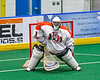 Onondaga Redhawks goalie Dave Mathers (1) in net against the Newtown Golden Eagles in Can-Am Box Lacrosse action at the Onondaga Nation Arena near Nedrow, New York on Sunday, April 28, 2019.  Onondaga won 8-6.