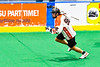 Onondaga Redhawks Bill O'Brien (96) running with the ball against the Newtown Golden Eagles in Can-Am Box Lacrosse action at the Onondaga Nation Arena near Nedrow, New York on Sunday, April 28, 2019.  Onondaga won 8-6.