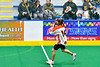 Onondaga Redhawks Gerald Johnson (14) looking to make a pass against the Newtown Golden Eagles in Can-Am Box Lacrosse action at the Onondaga Nation Arena near Nedrow, New York on Sunday, April 28, 2019.  Onondaga won 8-6.