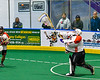 Onondaga Redhawks goalie Dave Mathers (1) passing the ball against the Newtown Golden Eagles in Can-Am Box Lacrosse action at the Onondaga Nation Arena near Nedrow, New York on Sunday, April 28, 2019.  Onondaga won 8-6.