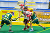 Onondaga Redhawks Brian Phillips Jr. (44) avoids checks by Newtown Golden Eagles defenders in Can-Am Box Lacrosse action at the Onondaga Nation Arena near Nedrow, New York on Sunday, April 28, 2019.  Onondaga won 8-6.
