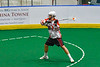 Onondaga Redhawks Percy Booth (21) winding up for a shot at the Newtown Golden Eagles net in Can-Am Box Lacrosse action at the Onondaga Nation Arena near Nedrow, New York on Sunday, April 28, 2019.  Onondaga won 8-6.