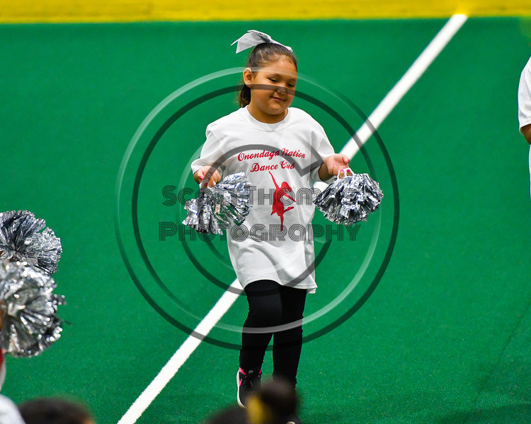 Onondaga Nation Dance Club performing during intermission of an Onondaga Redhawks Can-Am Box Lacrosse game at the Onondaga Nation Arena near Nedrow, New York on Sunday, April 28, 2019.