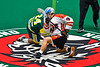 Onondaga Redhawks Leland Powless (7) faces off against Newtown Golden Eagles Pete Rivera (24) in Can-Am Box Lacrosse action at the Onondaga Nation Arena near Nedrow, New York on Sunday, April 28, 2019.  Onondaga won 8-6.